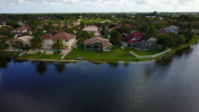 Suburban homes aerial view stock footage