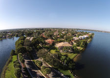 Suburban homes aerial view Stock Images