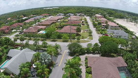 Suburban homes in Florida aerial view stock video footage