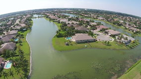 Suburban homes in Florida aerial view stock footage