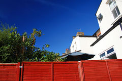 Suburban house. Terraced house from the backgarden early morning stock images