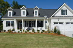 Suburban house. With porch and neat landscaping Stock Photography
