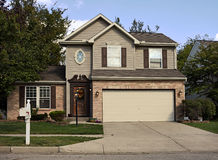 Suburban House with Double Garage Stock Photography