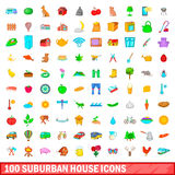 100 suburban house icons set, cartoon style. 100 suburban house icons set in cartoon style for any design vector illustration Royalty Free Stock Images