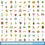 100 suburban house icons set, cartoon style. 100 suburban house icons set in cartoon style for any design vector illustration Stock Images