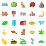 Suburban house icons set, cartoon style. Suburban house icons set. Cartoon set of 25 suburban house vector icons for web isolated on white background Royalty Free Stock Photos