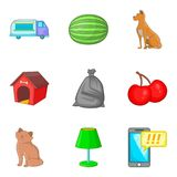 Suburban house icons set, cartoon style. Suburban house icons set. Cartoon set of 9 suburban house vector icons for web isolated on white background royalty free illustration