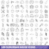 100 suburban house icons set, outline style Royalty Free Stock Images