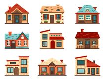 Suburban house. Living houses, housing roof building and home facade vector flat illustration royalty free illustration