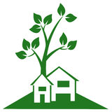 Suburban House Logo. Eco friendly house with tree in backyard abstract design Stock Illustration
