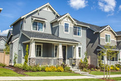 Suburban house. Perfectly manicured suburban house on a beautiful sunny day royalty free stock photo