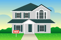 Suburban House for Sale stock vector. Illustration of suburban ...