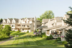 Suburban Houses. View of the back yards of multiple family residences in a suburban neighborhood Stock Photo