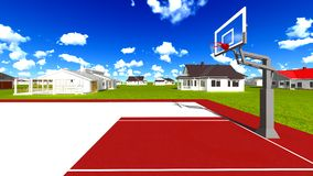 Suburban houses with basketball field Stock Photography