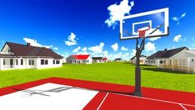 Suburban houses with basketball field Stock Photos