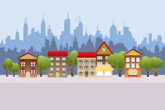 Suburban houses and city Stock Photo
