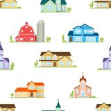 American houses, churches and farm seamless pattern. Royalty Free Stock Photos