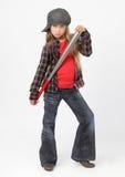 Suburban kid w baseball stick Stock Photo