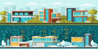 Suburban Landscape Horizontal Banners. With modern residential houses at summer and winter time vector illustration stock illustration