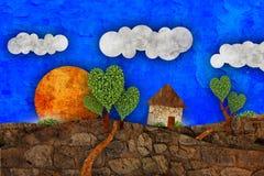 Suburban  landscape, illustration Stock Photography