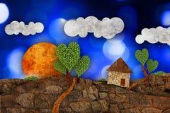 Suburban  landscape, illustration Royalty Free Stock Photos