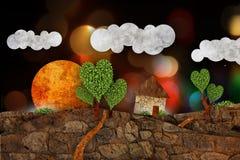 Suburban  landscape, illustration Royalty Free Stock Photo
