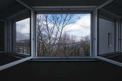 Landscape seen from the private apartment window, open window stock images