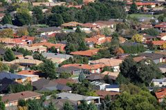 Suburban living. Suburban houses seen from high vantage point Royalty Free Stock Images