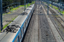 Suburban Metro trains in Springvale, Melbourne Stock Photo