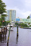 Suburban Miami, Florida along the canal. Royalty Free Stock Photo