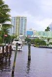 Suburban Miami, Florida along the canal. Royalty Free Stock Photo