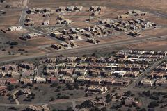 Suburban Neighborhood. A suburban neighborhood in the southwestern United States. These buildings are in a contemporary adobe style and typical of southwestern royalty free stock photo