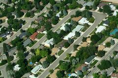 Suburban Neighborhood. This is an aerial view of a suburban development outside of Denver, Colorado, USA stock photos