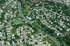 Suburban Neighborhood. This is an aerial view of a suburban development outside of Denver, Colorado, USA Stock Photo