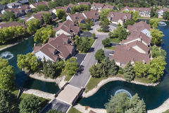 Suburban Neighborhood Creek Aerial Stock Photos