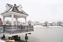 Suburban Neighborhood Homes On The Water Stock Photos