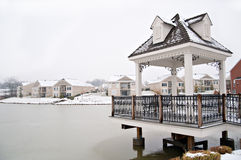 Suburban Neighborhood Homes On The Water Stock Image