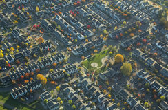 Suburban Neighborhood and Park in Autumn Stock Photography