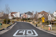 Suburban Neighborhood Street Sign Stock Photo