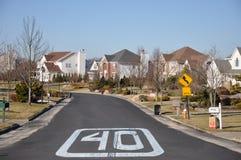 Suburban Neighborhood Street Sign Stock Photo