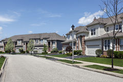 Suburban neighborhood townhouse complex. In suburbs with lightpole Royalty Free Stock Photography