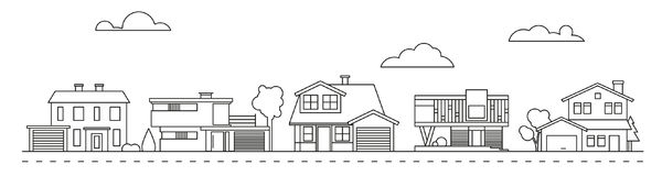 Suburban neighborhood vector illustration Royalty Free Stock Images