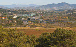 Suburban Neighborhoods, California. A panoramic view of Carmel Valley, and other suburban neighborhoods in the distance to the east, in the northern part of San royalty free stock photos