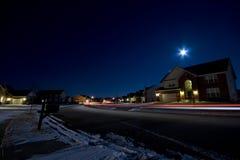 Suburban night. Typical suburban residential street scene at night royalty free stock image