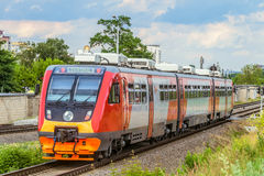 Suburban rail bus RA2 on the rail road. Diesel train of Russian railways RZD. Belgorod, Russia. Royalty Free Stock Image