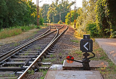 Suburban railroad switch. A hand operated railroad switch stock image
