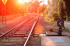 Suburban railroad switch. A hand operated railroad switch royalty free stock photography