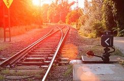 Suburban railroad switch Royalty Free Stock Photography