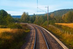 Suburban railroad track Royalty Free Stock Photo
