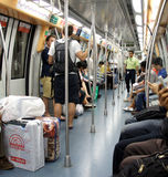 Suburban railway train inside, Singapore Royalty Free Stock Image